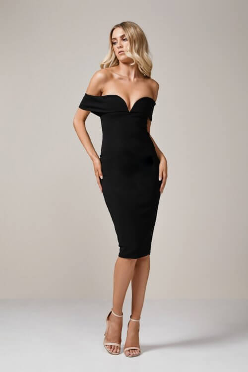 Nookie Pretty Woman Midi Knee Length, Midi, Off-Shoulder Black