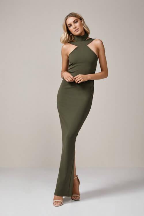 Nookie Celestial Gown Floor Length, Maxi Khaki