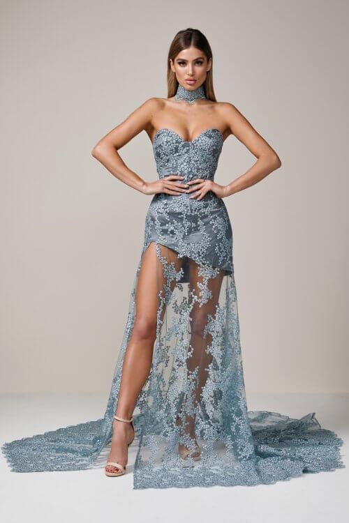 D'Lelle Erin Gown Floor Length, Strapless Blue
