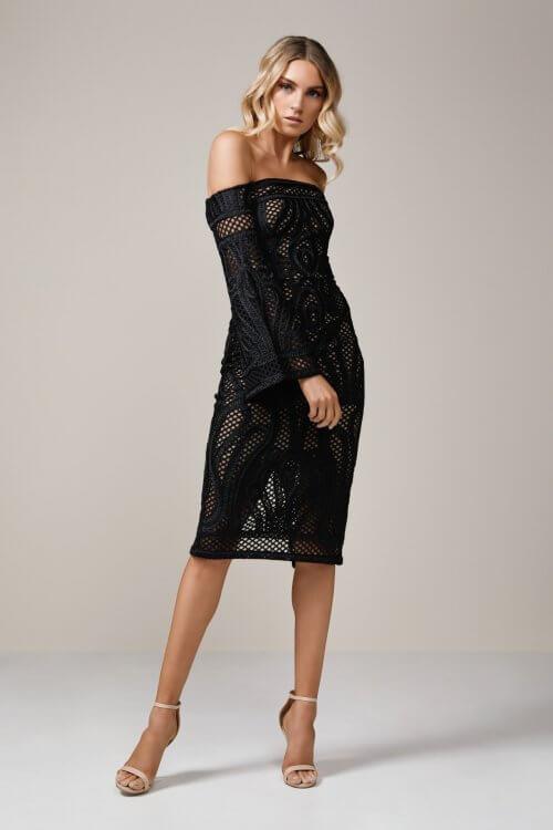 Thurley Sonnet Dress Knee Length, Midi, Off-Shoulder Black
