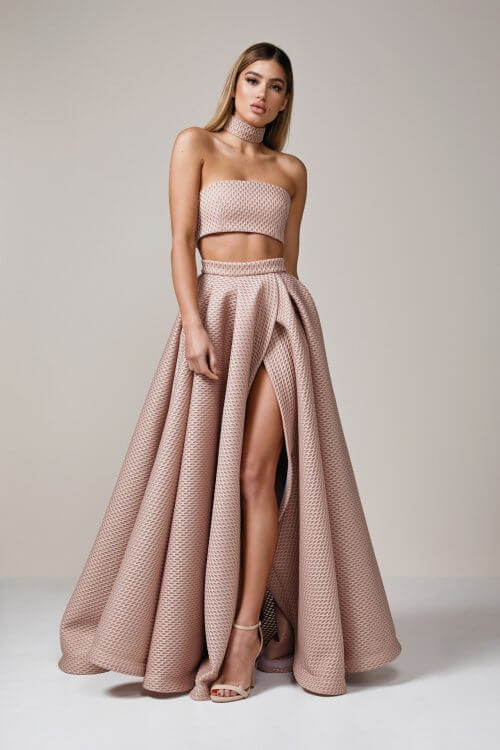 D'Lelle Olivia Set Floor Length, Maxi, Strapless, Two-piece Set Nude