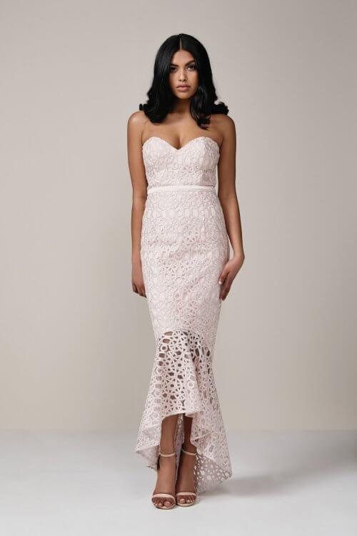 Elle Zeitoune Blossom Gown Floor Length, Maxi, Strapless Pink
