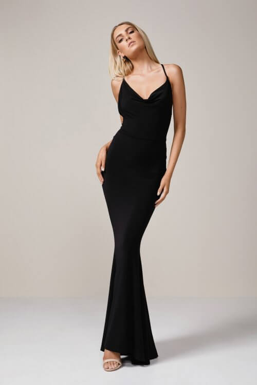 Nookie Hustle Gown Backless, Floor Length Black