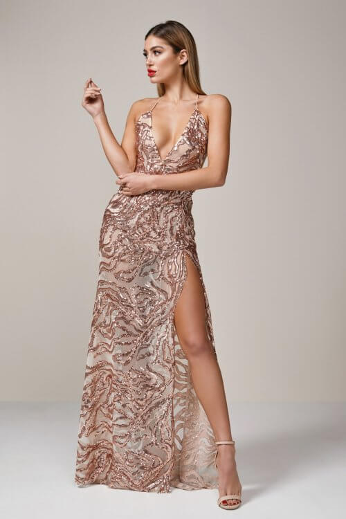 Ae'lkemi Plunge Gown Backless, Floor Length, V-Neck Rose Gold