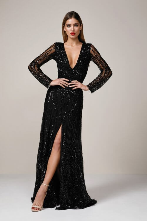 Ae'lkemi STAR DUST Sequin Floor Length, Long-Sleeve, Maxi, V-Neck Black