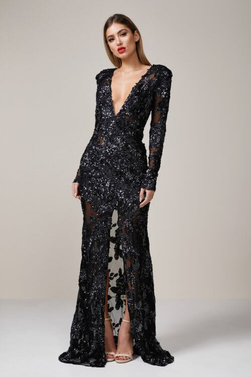 Ae'lkemi Custom Long Sleeve Gown Floor Length, Long-Sleeve, V-Neck Black