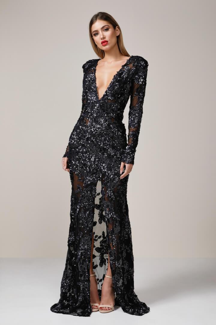 Ae'lkemi Custom Long Sleeve Gown Floor Length, Long-Sleeve, V-Neck Black