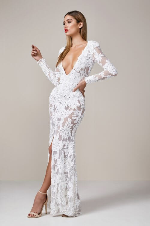 Ae'lkemi Plunge Sequin Floral Gown Floor Length, Long-Sleeve, V-Neck White