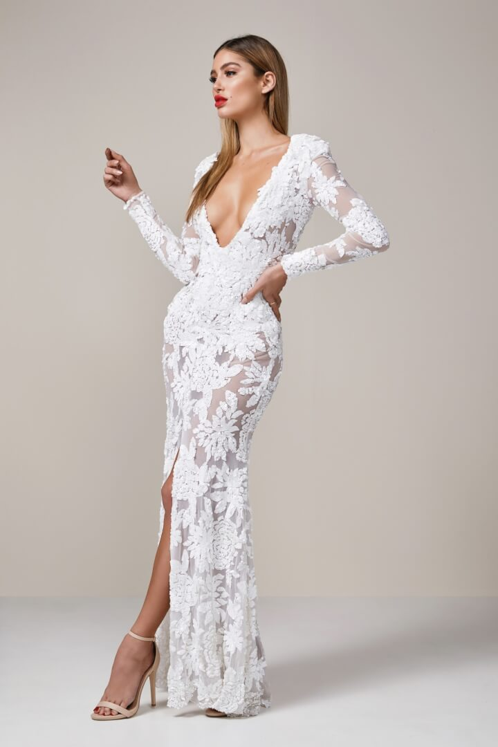 Ae'lkemi Plunge Sequin Floral Gown Floor Length, Long-Sleeve, Maxi, V-Neck White