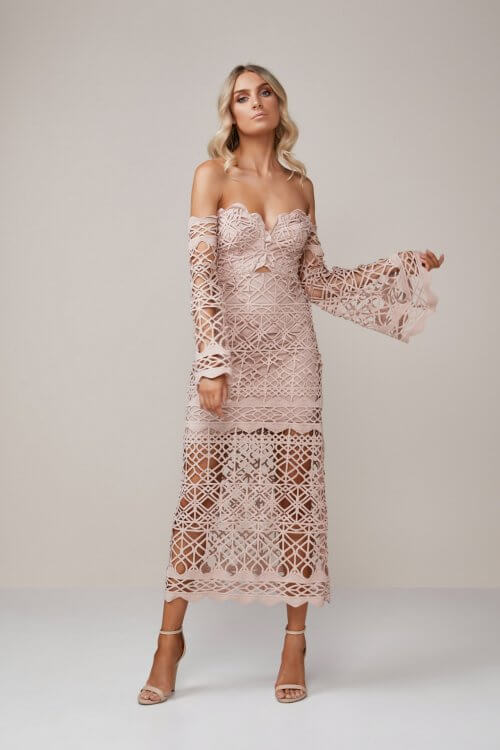 Thurley Coney Island Strapless Dress Knee Length, Midi, Off-Shoulder Nude