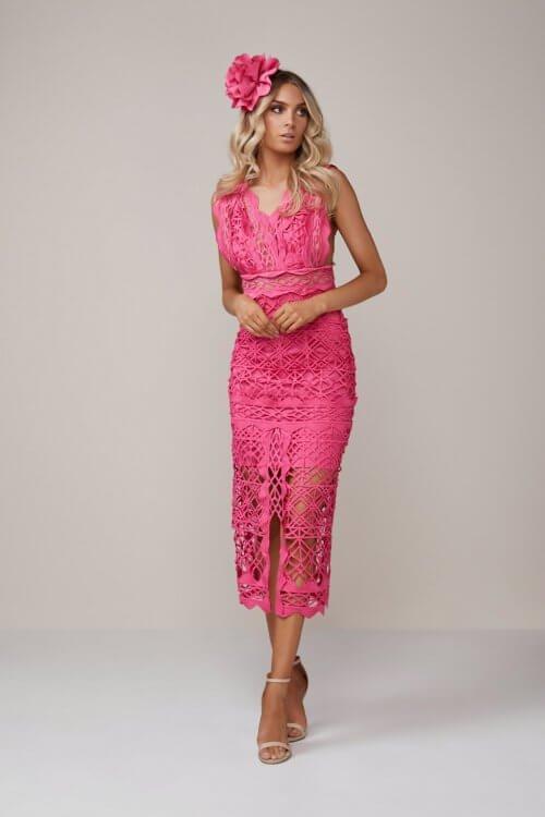 Thurley Coney Island Dress Knee Length, Midi, V-Neck Pink