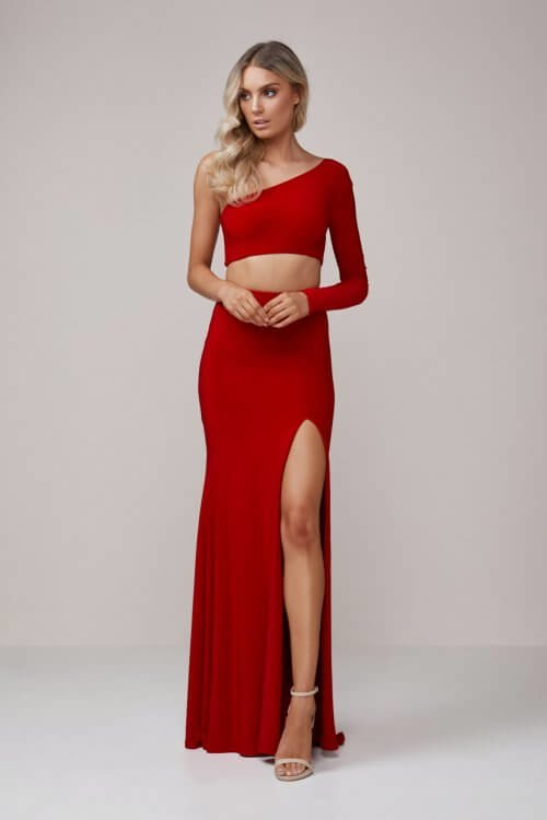 D'Lelle Bella Top & Skirt Floor Length, Long-Sleeve, Two-piece Set Red