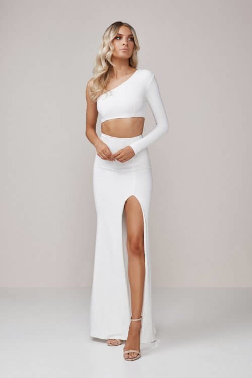 D'Lelle Bella Top & Skirt Two-piece Set Ivory