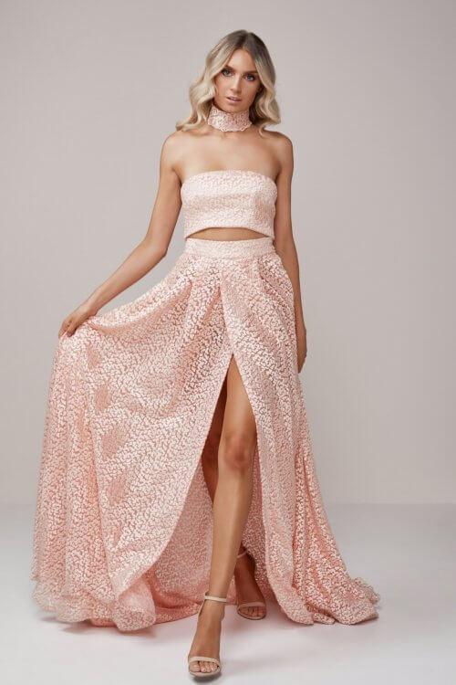 D'Lelle Olivia Lace Set Floor Length, Maxi, Strapless, Two-piece Set Pink