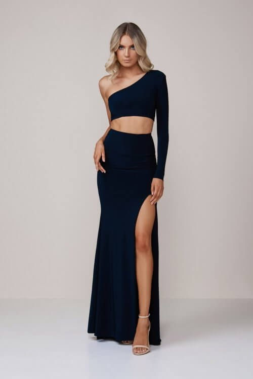 D'Lelle Bella Top & Skirt Floor Length, Long-Sleeve, Two-piece Set Navy