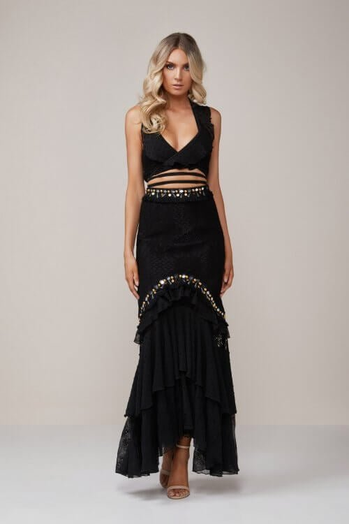 Ixiah Guner Bandeau & Step Back Skirt Floor Length, Maxi, Two-piece Set Black