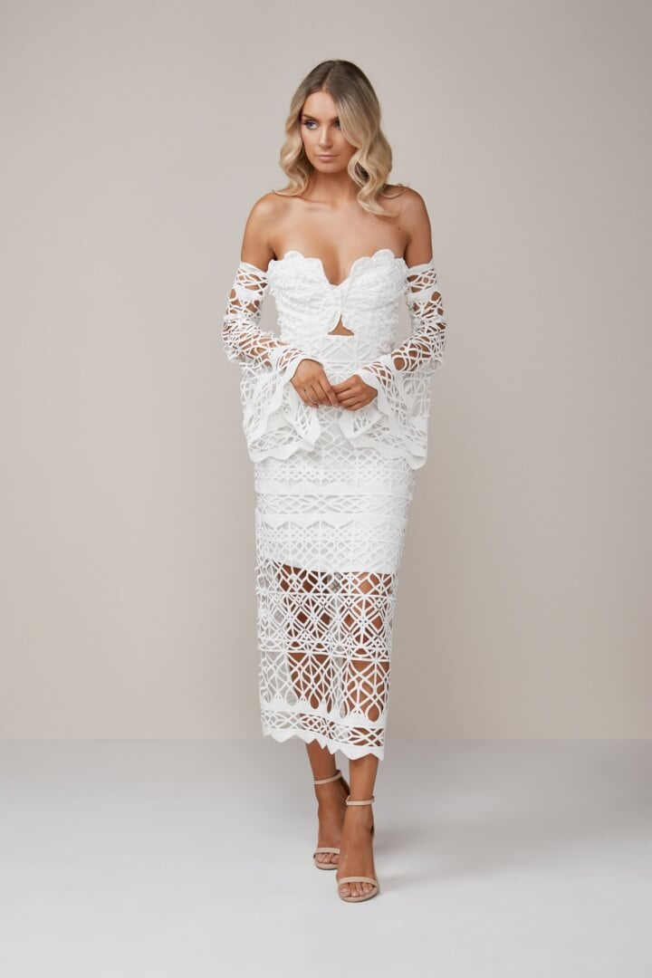 Thurley Coney Island Strapless Dress Knee Length, Midi, Off-Shoulder Ivory