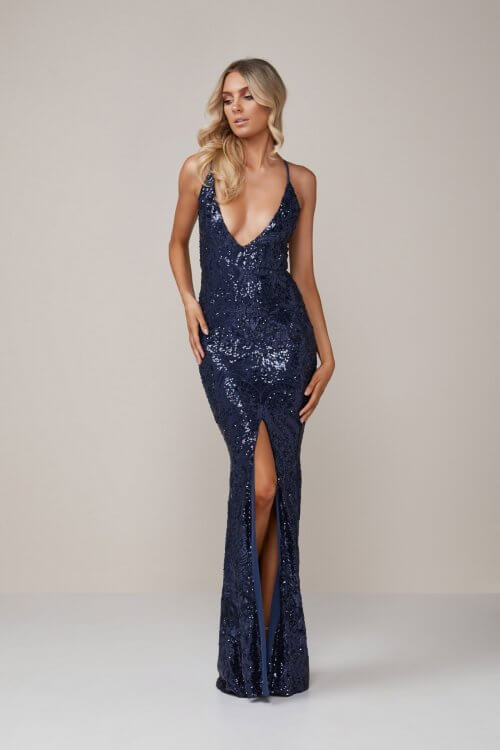 Nookie Shanina Plunge Gown Backless, Floor Length, V-Neck Navy