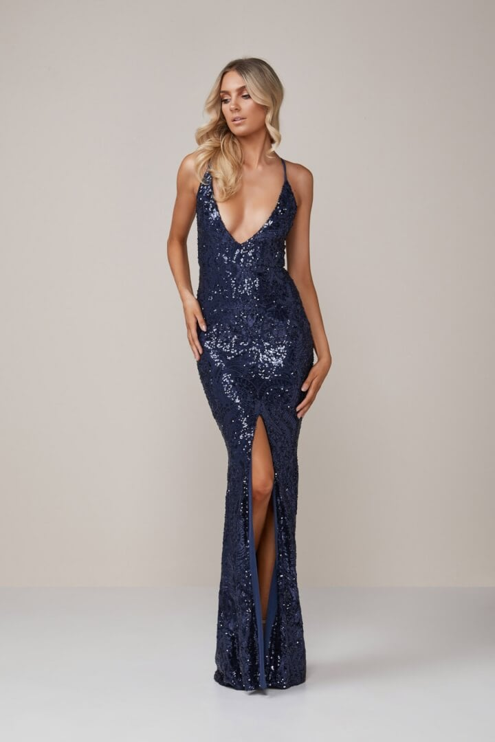 Nookie Shanina Plunge Gown Backless, Floor Length, Maxi, V-Neck Navy