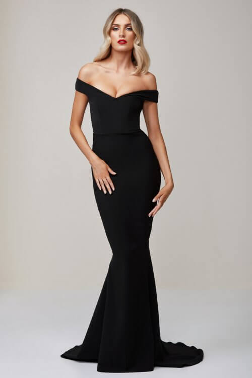 Nookie Allure Gown Floor Length, Off-Shoulder Black