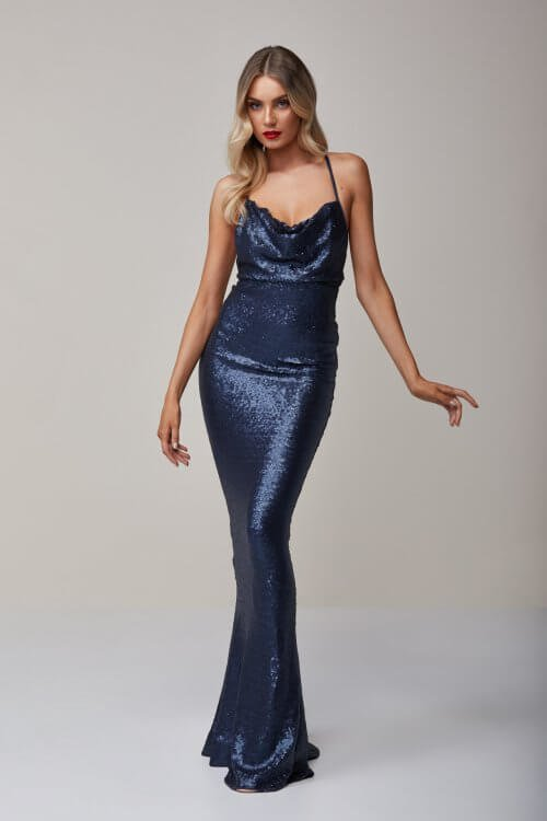 Nookie Seduce Sequin Gown Backless, Floor Length Navy