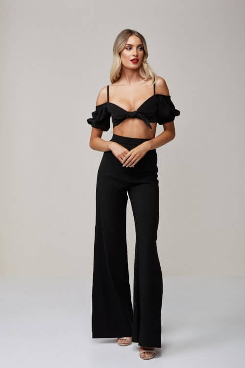 Nookie Belle Crop & Pants Two-piece Set Black