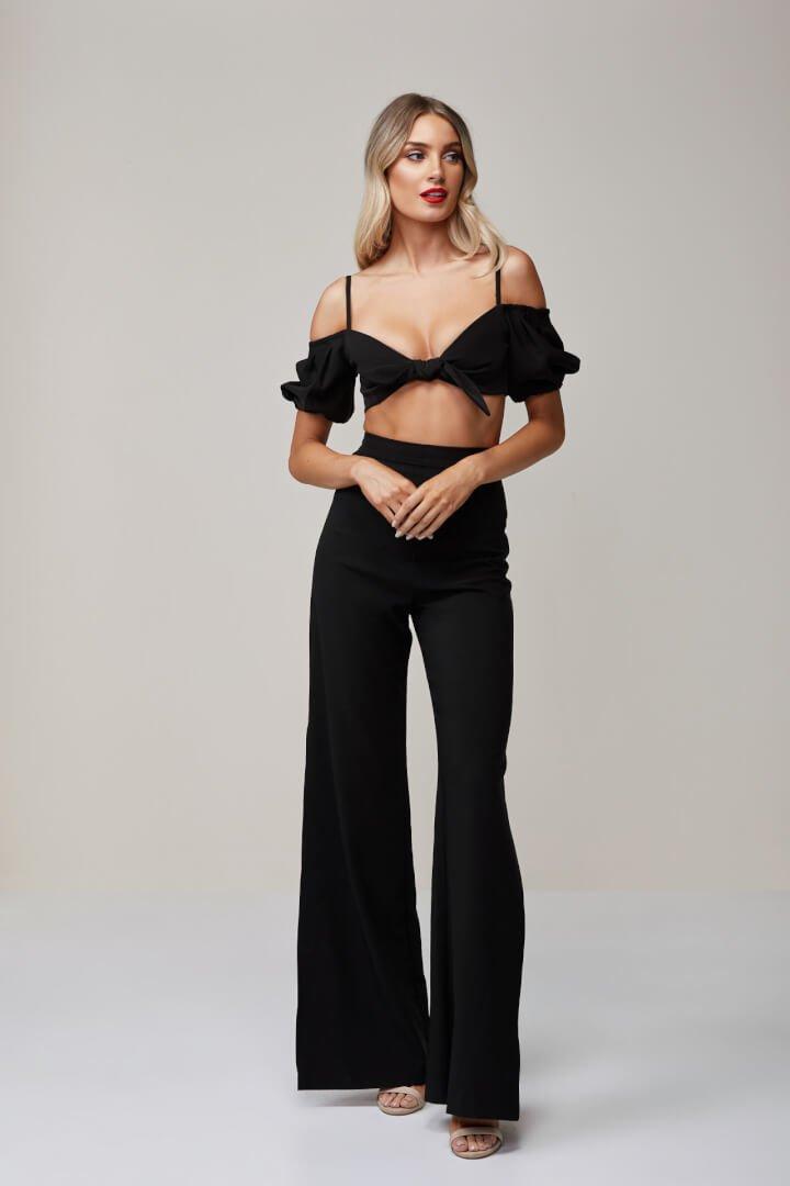 Nookie Belle Crop & Pants Two-piece Set Black