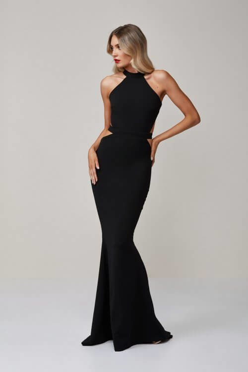 D'Lelle Ashton Gown Backless, Floor Length, Maxi Black