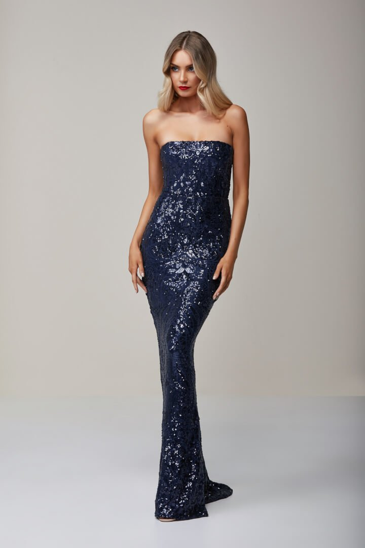 Nookie Shanina Strapless Gown Floor Length, Strapless Navy