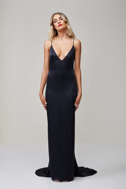 Lexi Aquarian Gown Backless, Floor Length, Maxi, V-Neck Navy