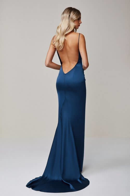 Lexi Aquarian Gown Backless, Floor Length, V-Neck Blue