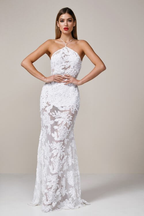 Ae'lkemi Backless Halter Gown Backless, Floor Length White