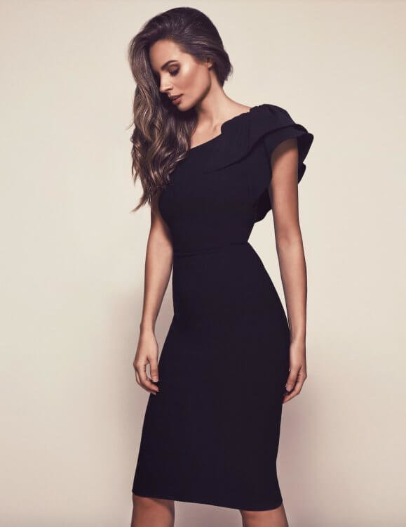 Bianca & Bridgett Karen Dress Knee Length, Midi, Off-Shoulder Black