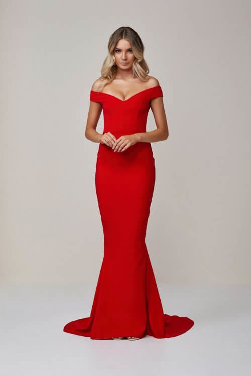 Nookie Allure Gown Floor Length, Maxi, Off-Shoulder Red
