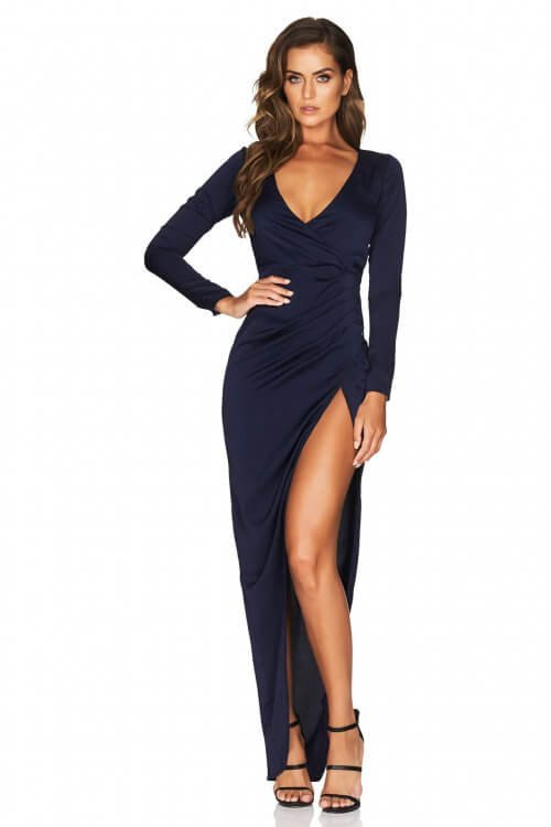 Nookie Saskia Long Sleeve Gown Floor Length, Long-Sleeve, V-Neck Navy