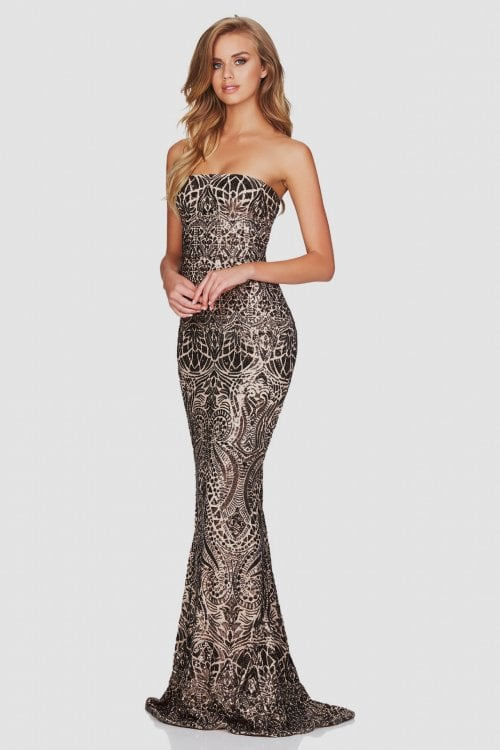 Nookie Shanina Strapless Gown Floor Length, Maxi, Strapless Bronze
