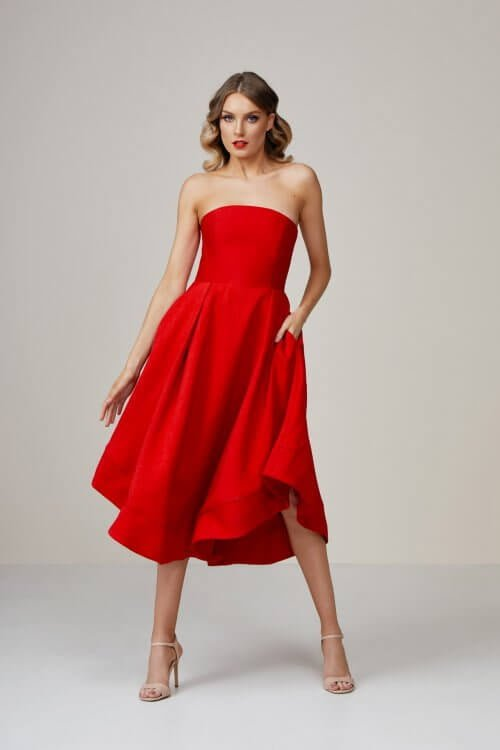 C/meo Making Waves Dress Knee Length, Midi, Strapless Red