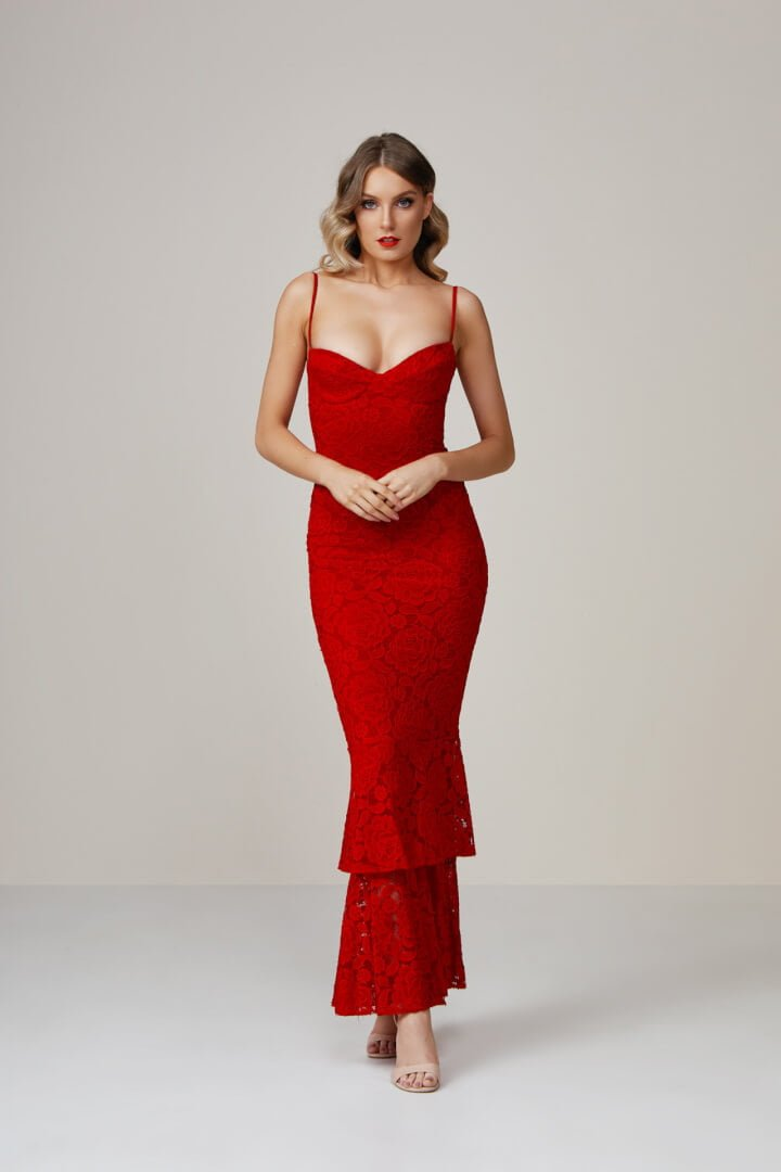 Nookie Liana Lace Gown Floor Length, Maxi Red