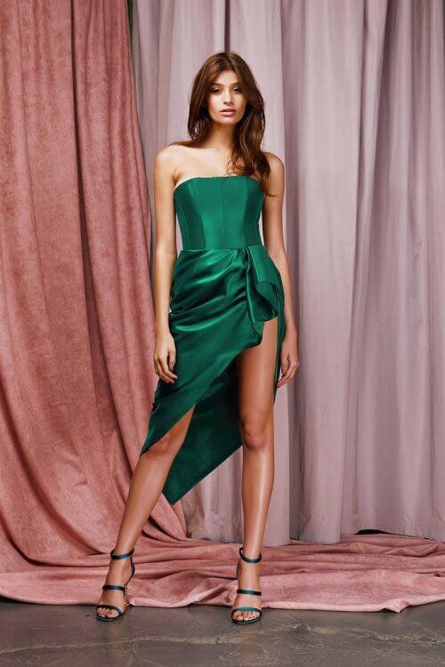 Lexi Shannen Dress Knee Length, Midi, Strapless Emerald