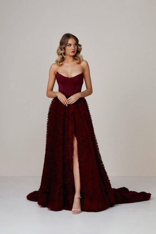 D'Lelle Dominique Gown Floor Length, Strapless Red