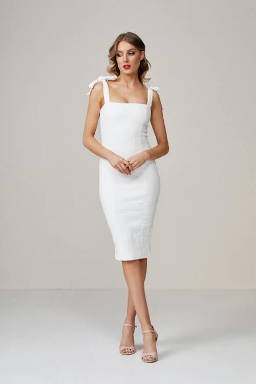 Winona Lychee Dress Knee Length, Midi Ivory