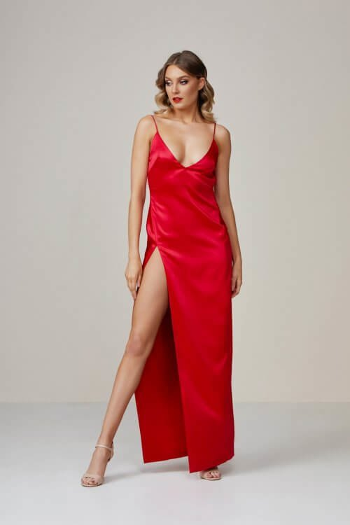 Lexi Akasa Dress Backless, Floor Length, Maxi, V-Neck Raspberry