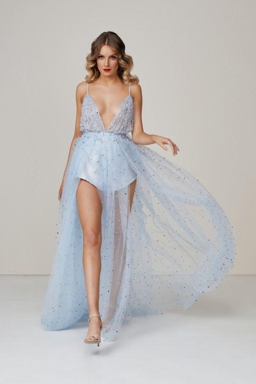 D'Lelle The Final Walk Gown Floor Length, Maxi, V-Neck Blue