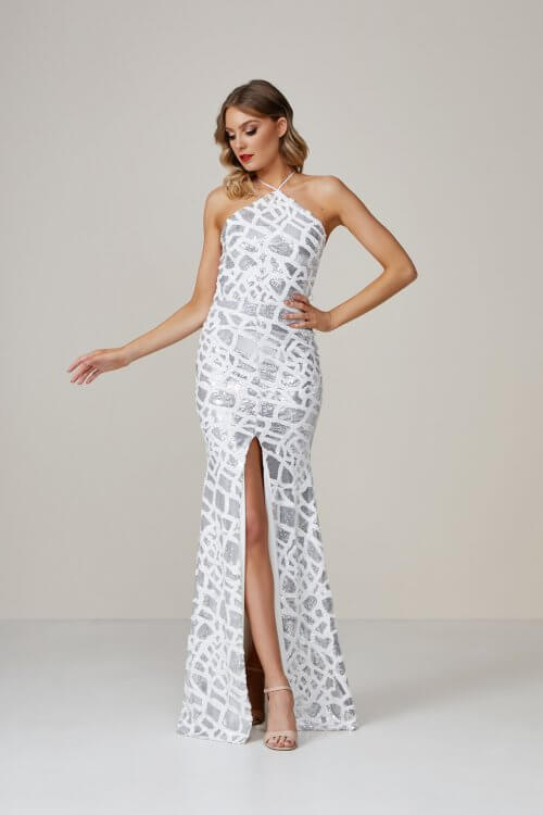 Ae'lkemi Tiger Gown Silver Backless, Floor Length Silver