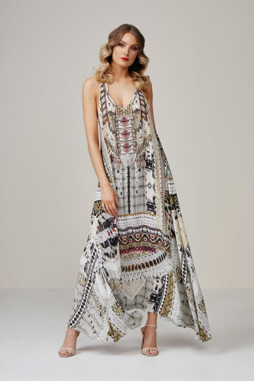 Camilla Spell Bound Racer Back Dress Floor Length, Maxi Print