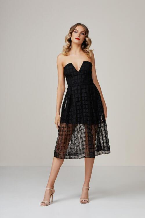 Nicholas Window Ball Dress Knee Length, Midi, Strapless Black