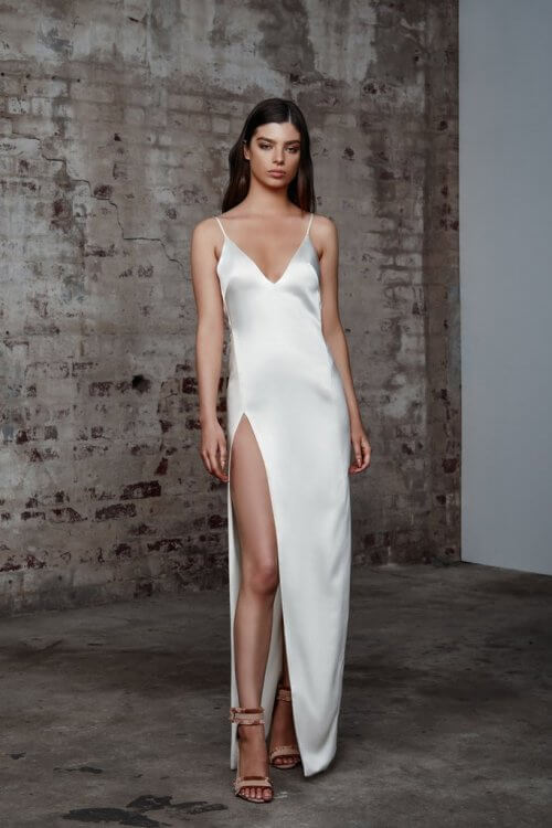 Lexi Akasa Dress Backless, Floor Length, Maxi, V-Neck Ivory