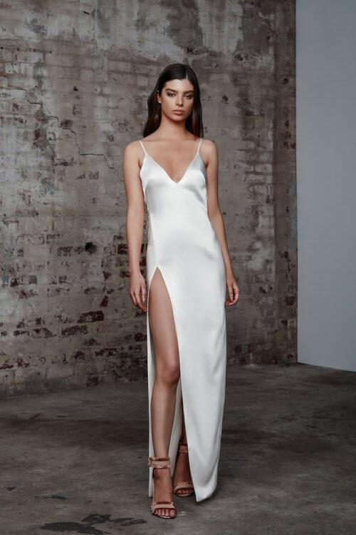 Lexi Akasa Dress Backless, Floor Length, Maxi, V-Neck Ivory