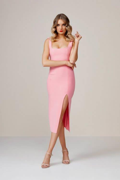 Bec & Bridge Hibiscus Island Midi Dress Knee Length, Midi Pink