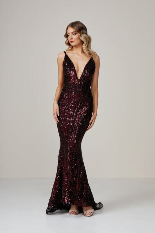 Jadore Sequin Gown Backless, Floor Length, Maxi, V-Neck Red